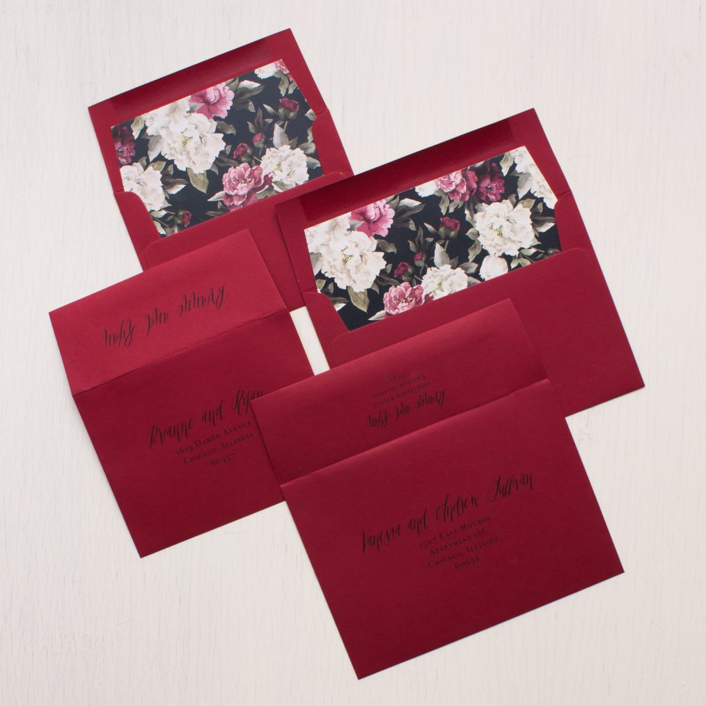 Boho Burgundy Floral Wedding Invitations