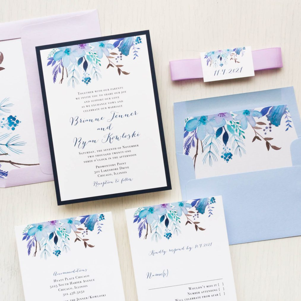 Blue lilac wedding invitations