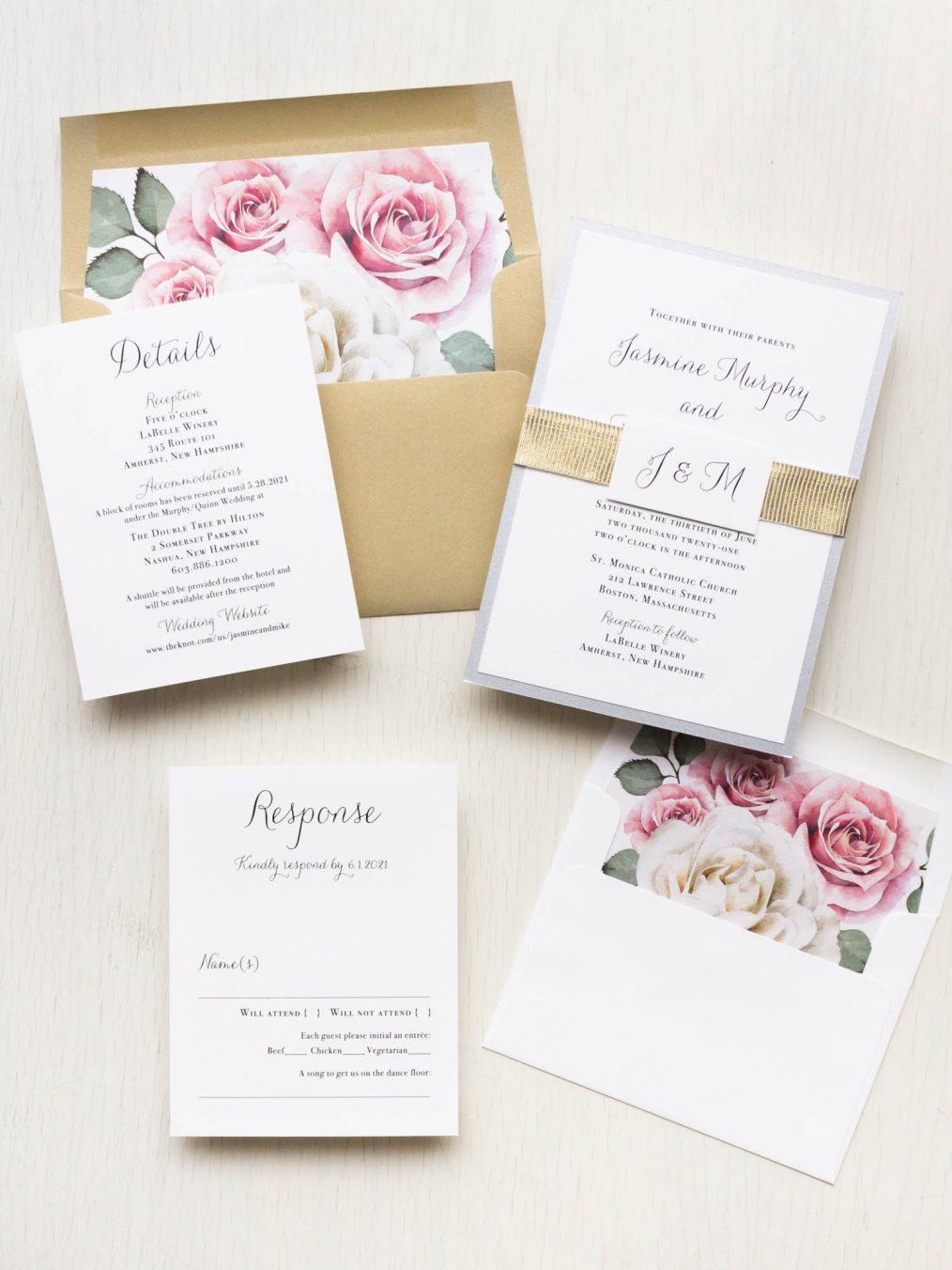 Simple mauve floral wedding invitations