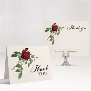 Ivory & Burgundy Thank You Cards