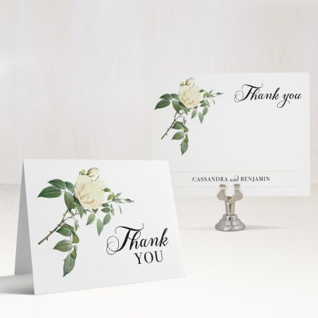 Ivory & White Floral Thank You Cards