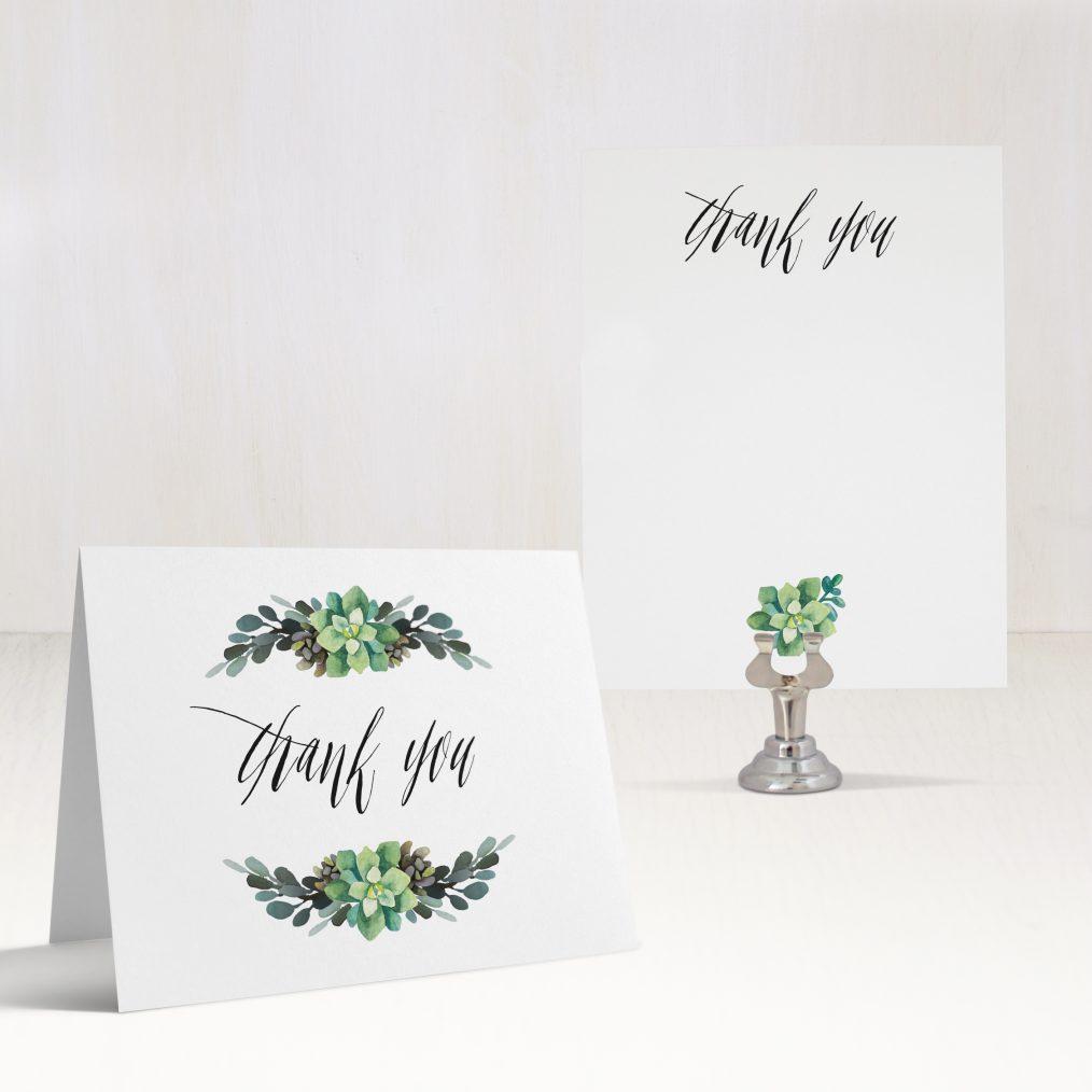 Succulent Script Thank You Cards
