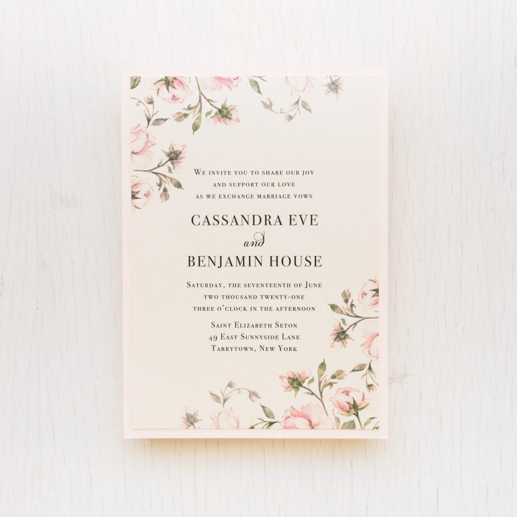 blush rose wedding invitations