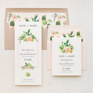 Blush Cactus Save the Dates