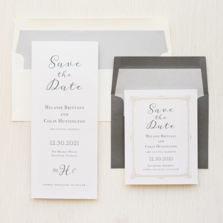 Traditional Gray Save the Dates