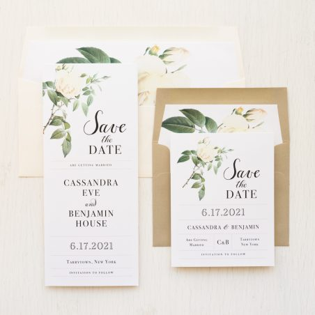 Ivory & White Floral Save the Dates