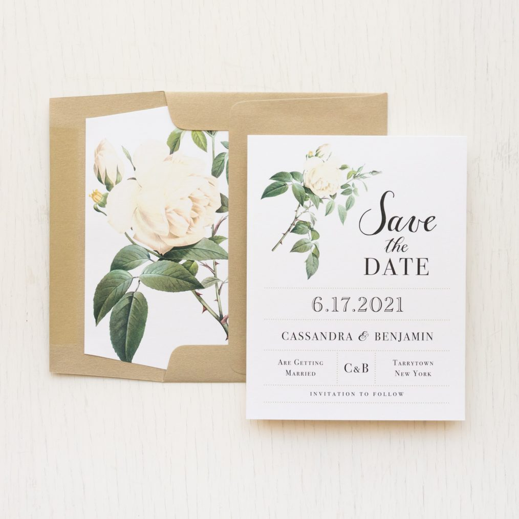 Ivory White Floral Save the Dates