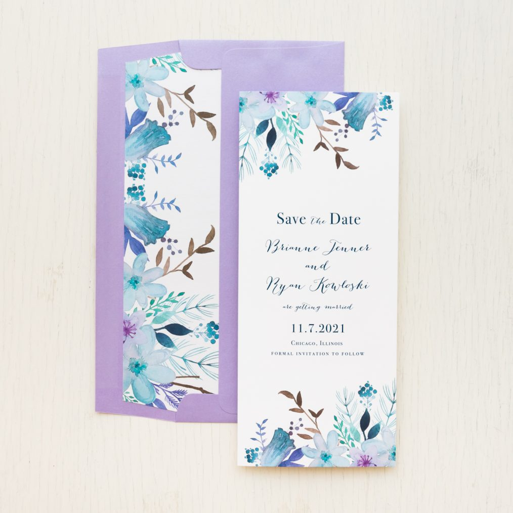 Blue and Lavender Save the Dates