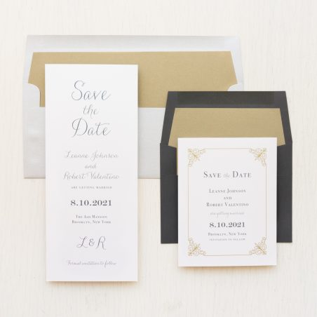 Simple Gray and Gold Save the Dates