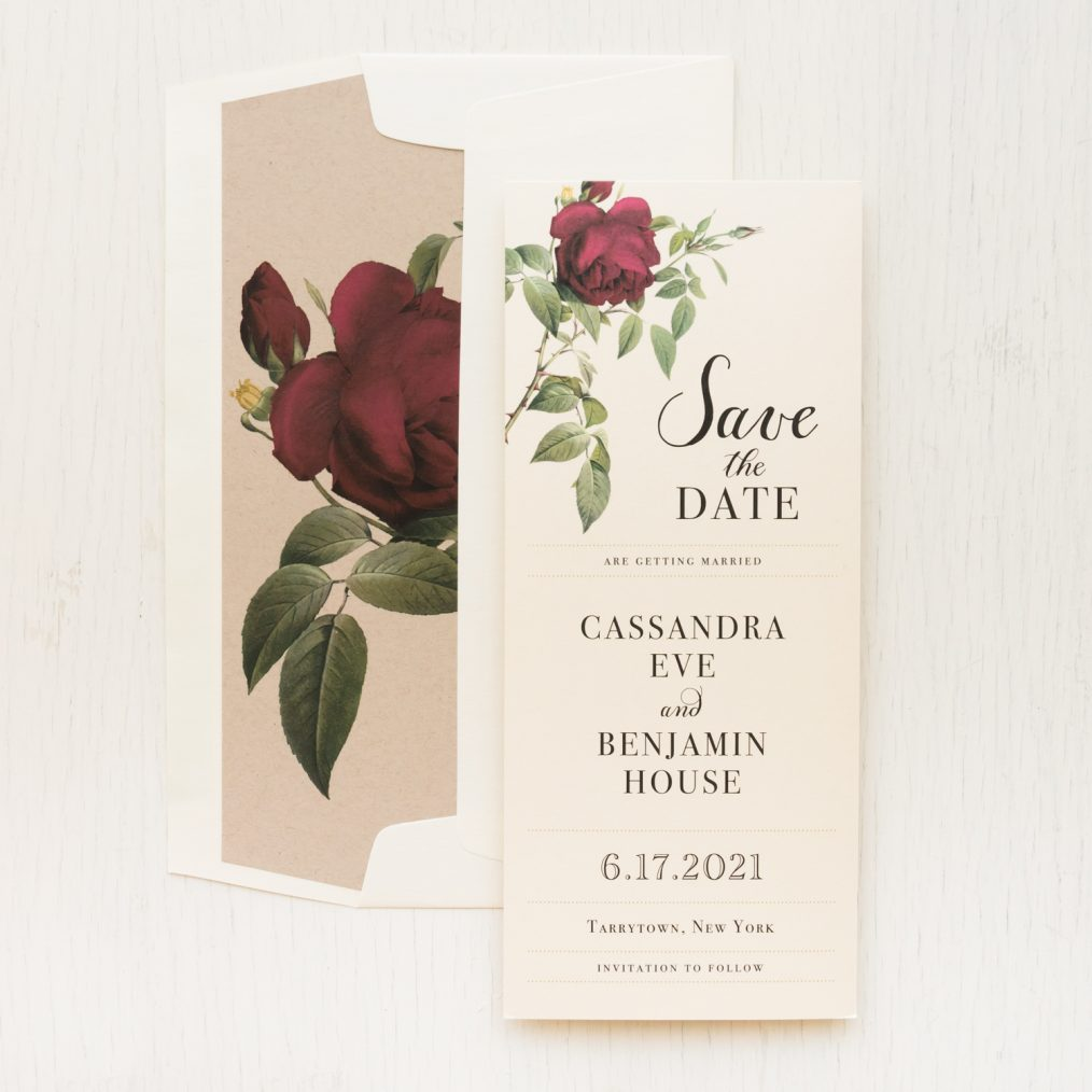 Ivory & Burgundy Floral Save The Dates