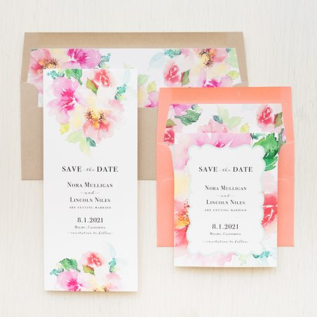 Seafoam Coral Watercolor Save the Dates