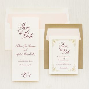 Classic Burgundy Save the Dates