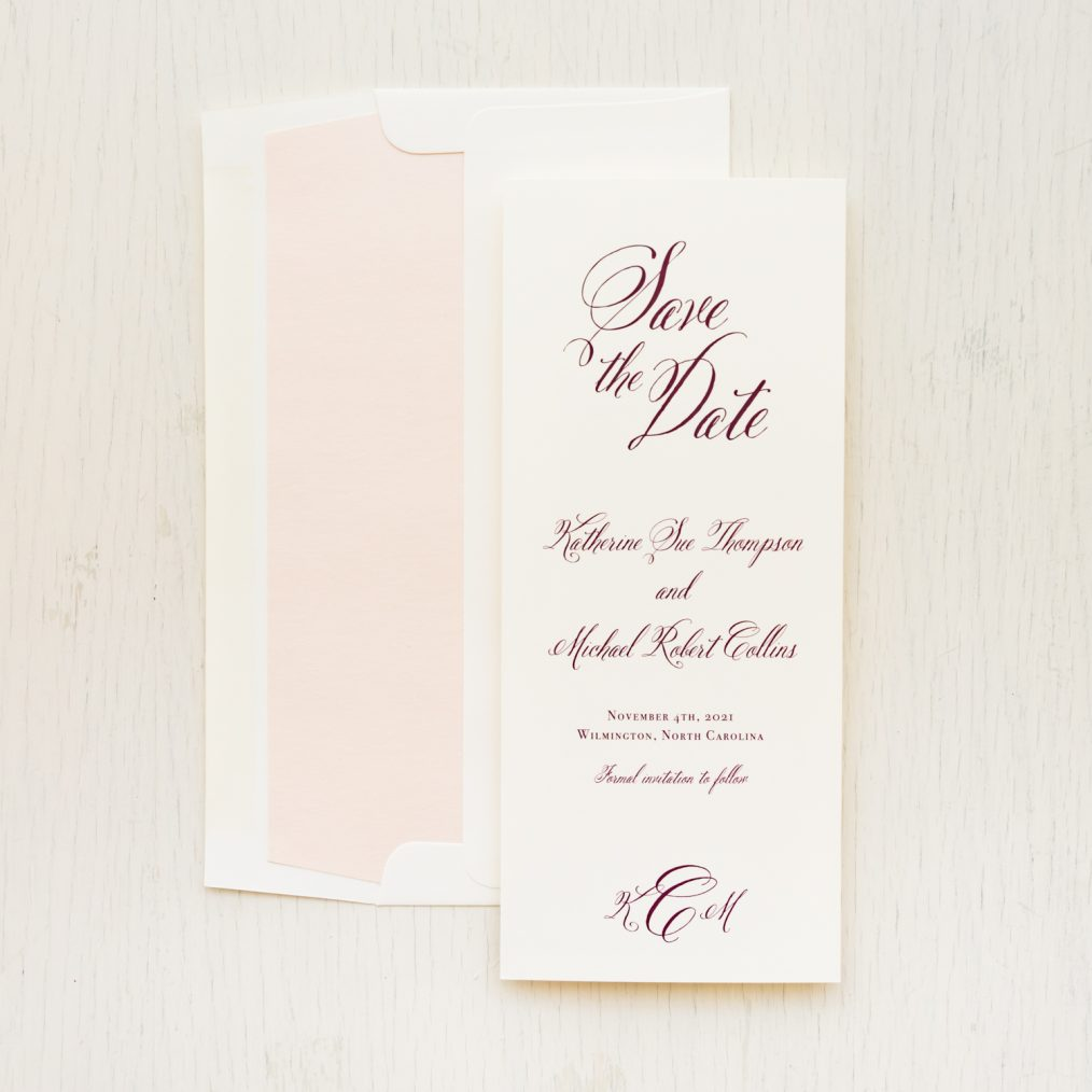 Burgundy & Gold Save the Dates