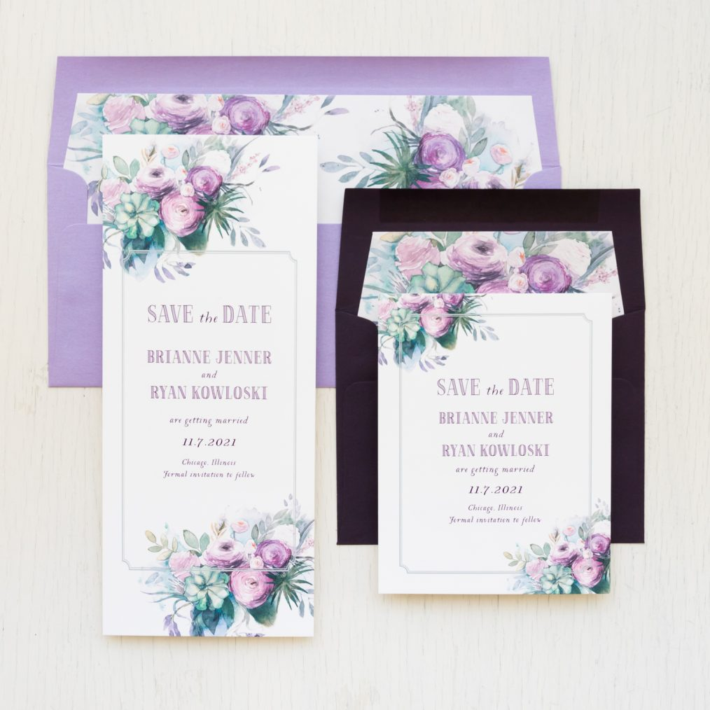 Purple Floral Save the Dates