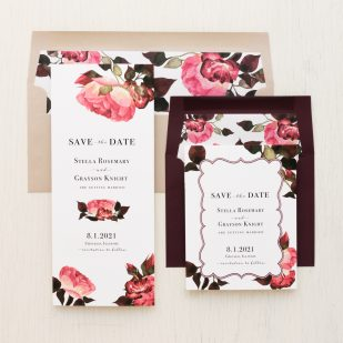 Burgundy Rose Save the Dates