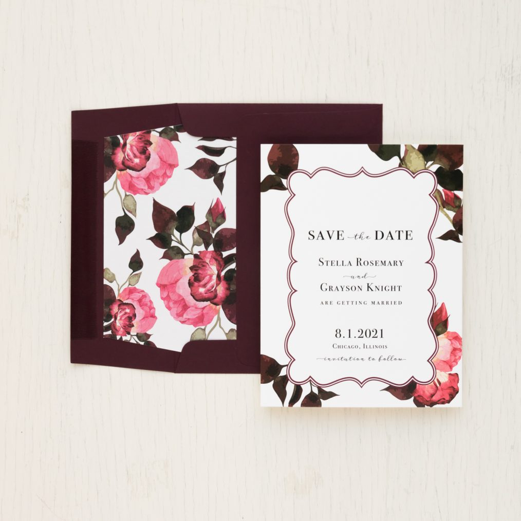 Deep Red and Burgundy Save the Dates