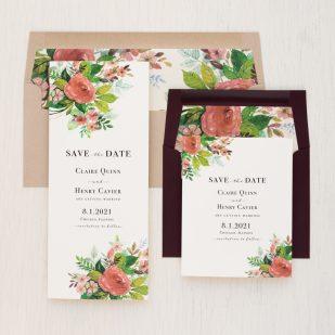 Mauve Floral Save the Dates
