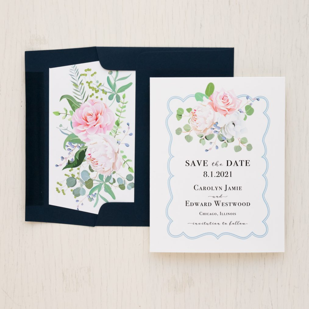 Dusty Blue Floral Save the Dates