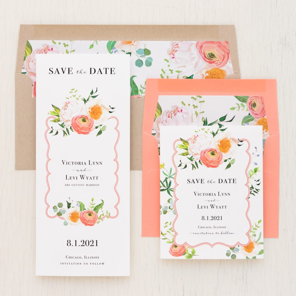 Coral Floral Save the Dates