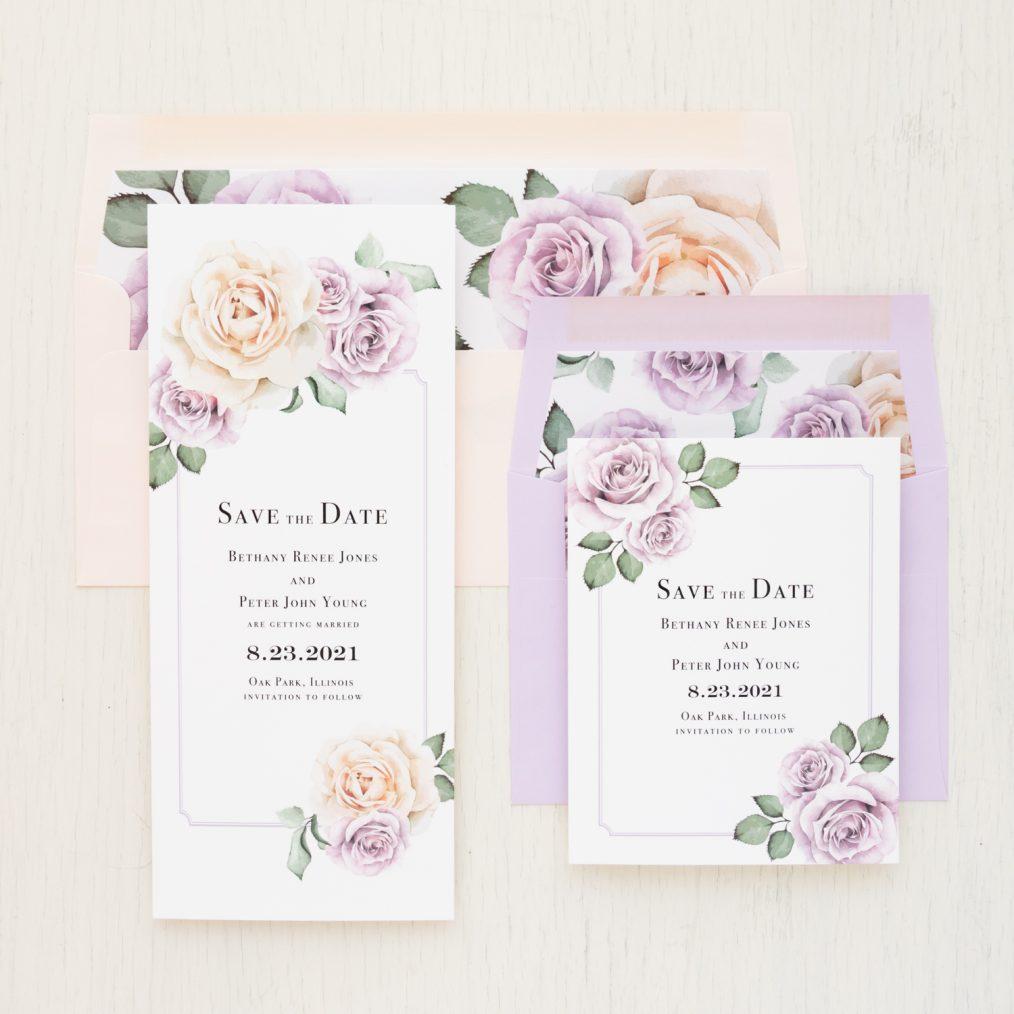 Lavender & Blush Save the Dates