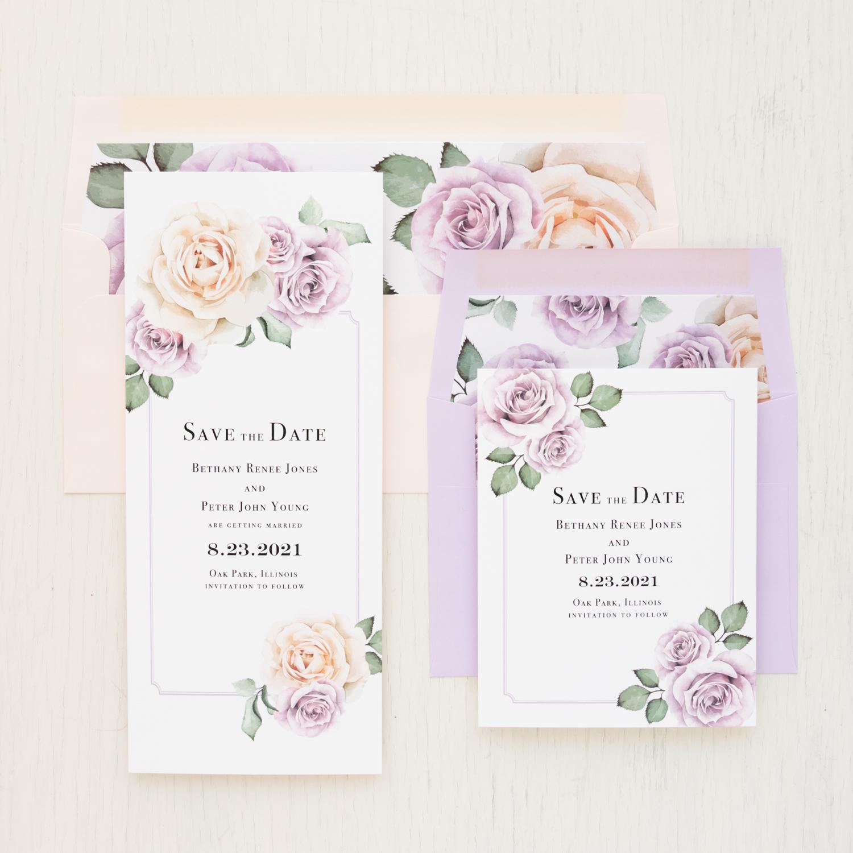Lavender & Blush Save the Dates | Beacon Lane Wedding Invitations