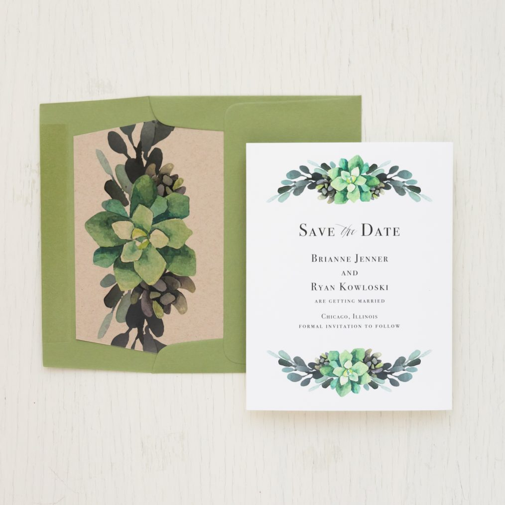 Moss Succulent Save the Dates
