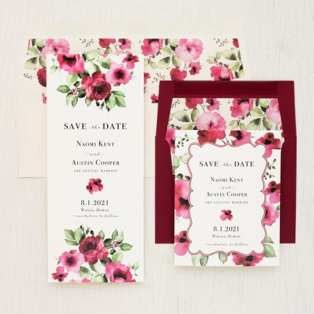 Cranberry Floral Save the Dates