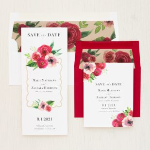 Deep Red Roses Save the Dates