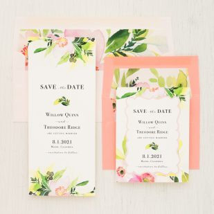 Blush & Coral Floral Save the Dates