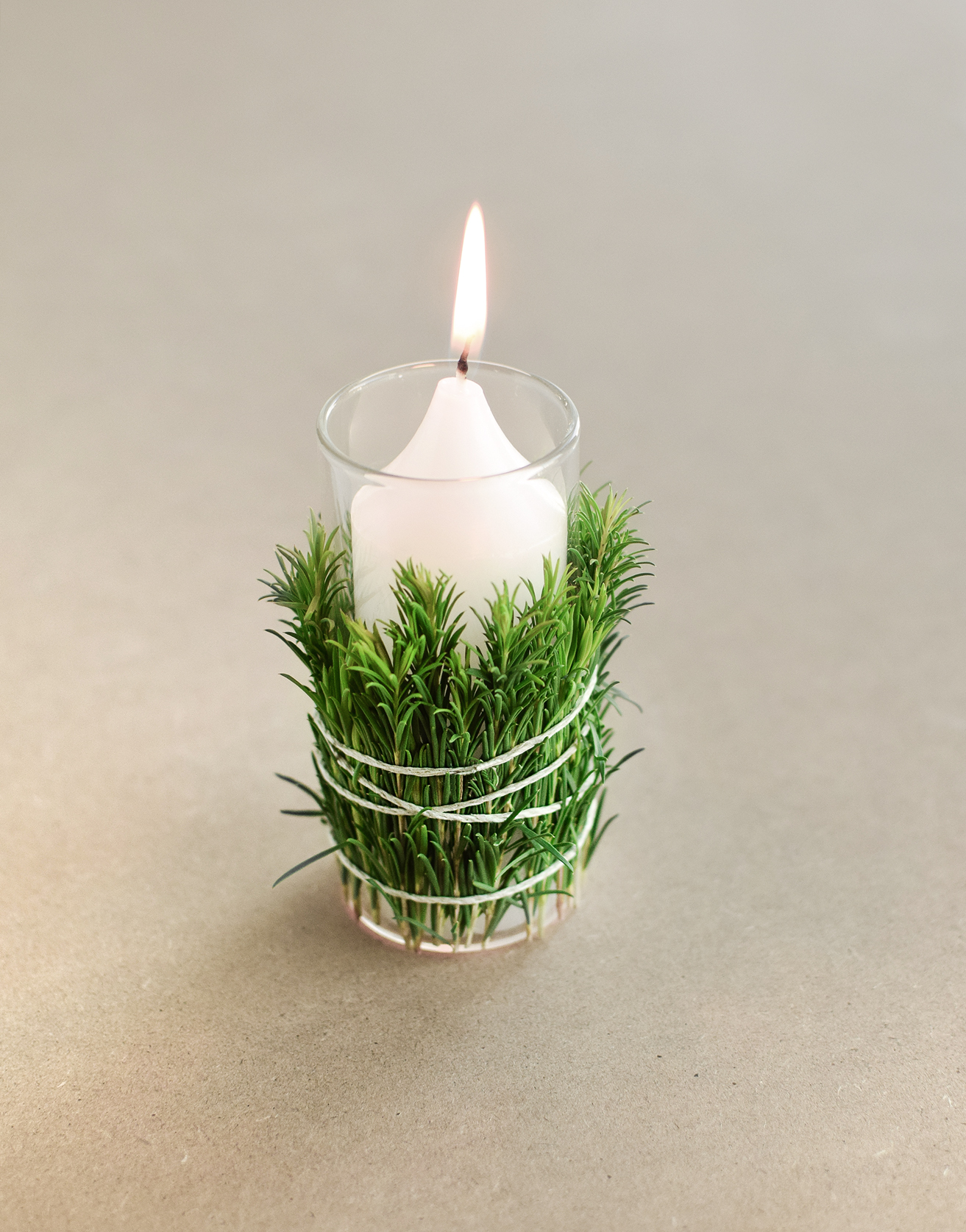 DIY Greenery-Wrapped Votives