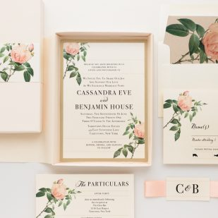 Ivory & Blush Floral Boxed Wedding Invitations