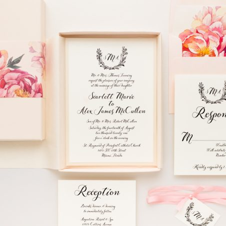 Pink Peonies Monogram Wedding Invitations