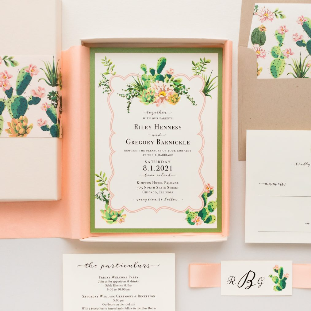 Blush Cactus Desert Wedding Invitations