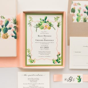 Blush Cactus Boxed Wedding Invitations