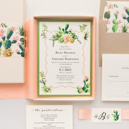 Blush Cactus Desert Wedding Invitations