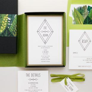 Green Leaf Boxed Wedding Invitations