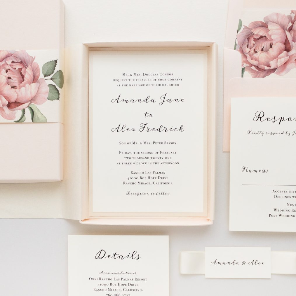 Blush Boxed Wedding Invitations