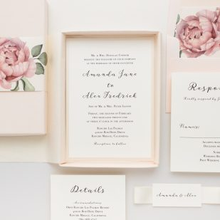 Blush Script Boxed Wedding Invitations