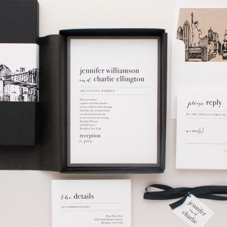 Modern Skyline Boxed Wedding Invitations