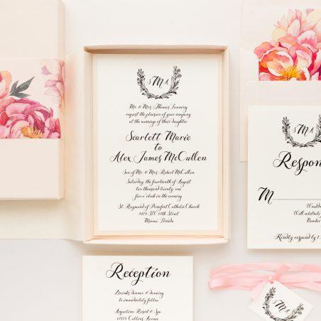 Pink Monogram Wedding Invitations