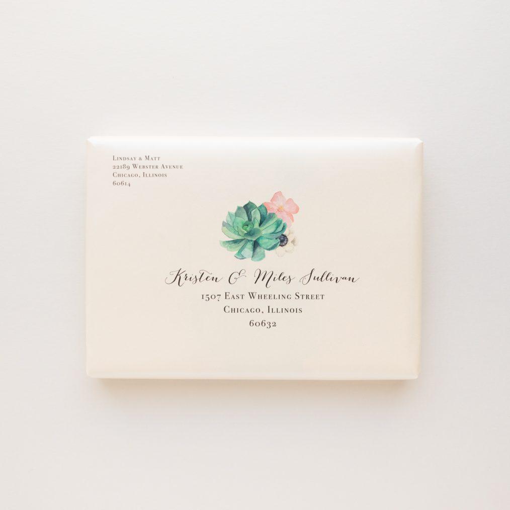 Blush Succulent Peony Wedding Invitations