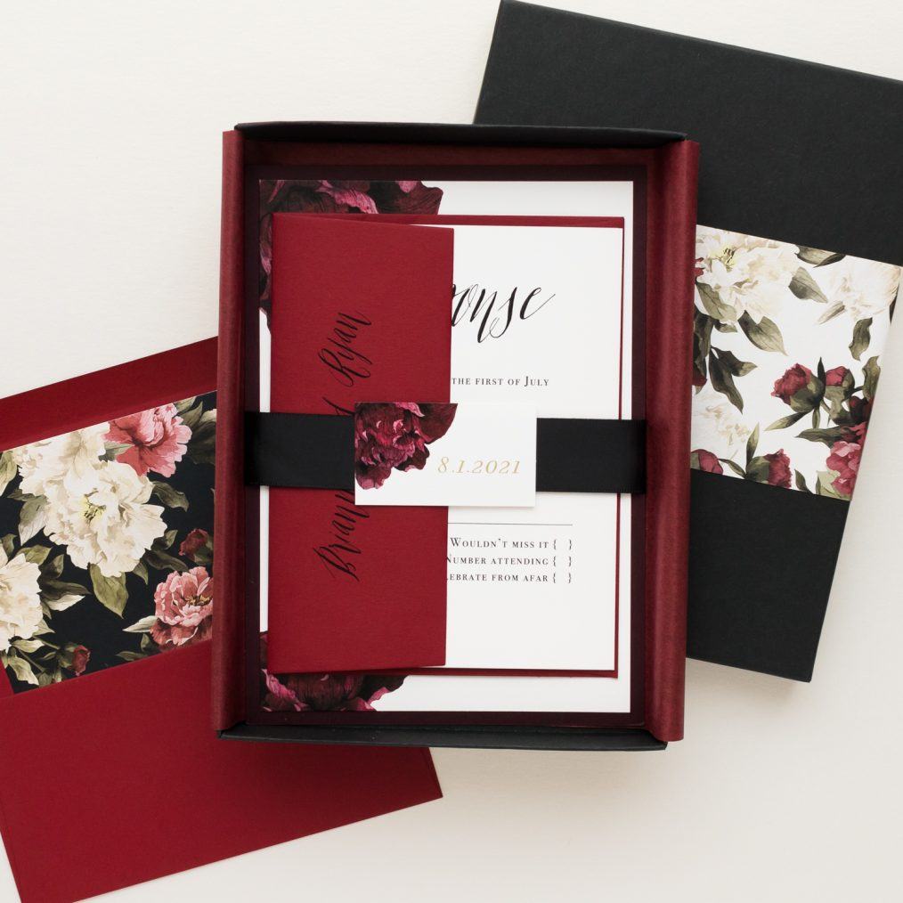 Modern Boho Burgundy & Black Boxed Wedding Invitations