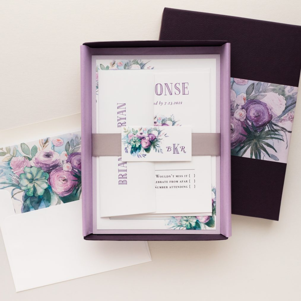 Lavender Rose Wedding Invitations