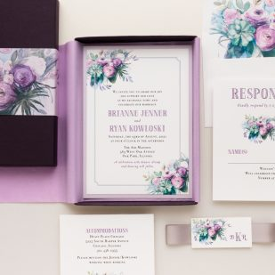 Watercolor Rose Boxed Wedding Invitations