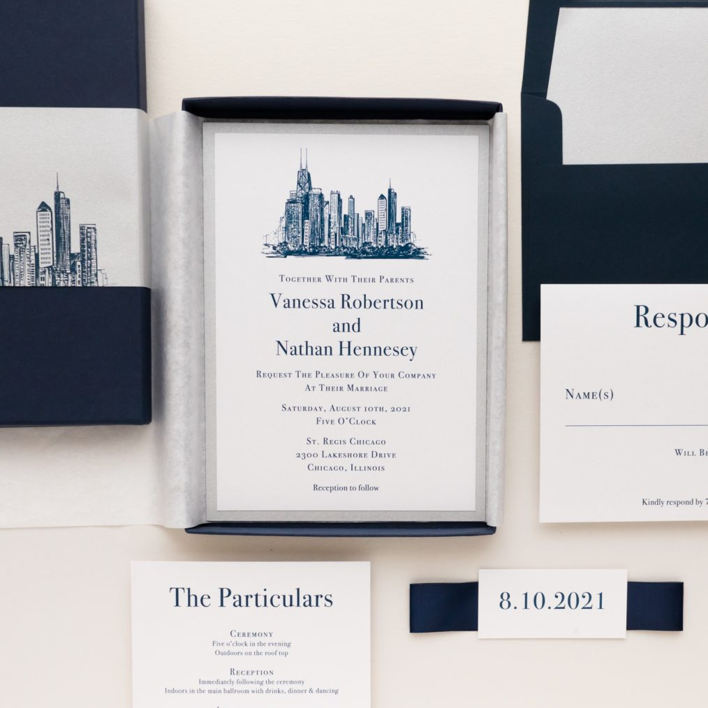 Chicago Chic Navy & Silver Boxed Wedding Invitations