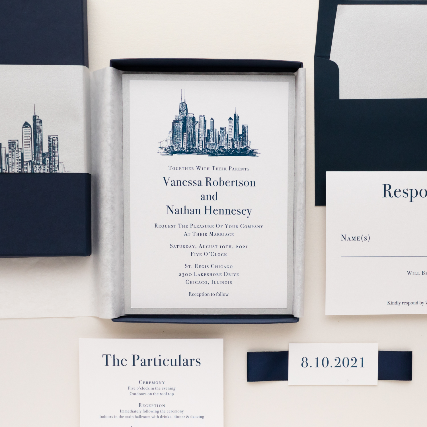 Chicago Chic Boxed Wedding Invitations