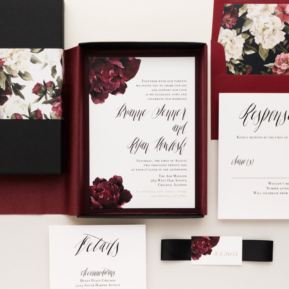 Modern Boho Burgundy & Black Boxed Wedding Invitations