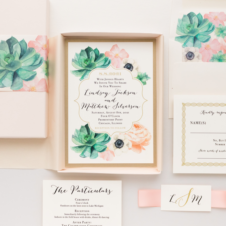 Succulent Peony Wedding Invitations Blush Succulent Beacon Lane