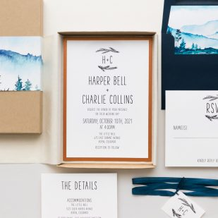 Blue Mountain Boxed Wedding Invitations