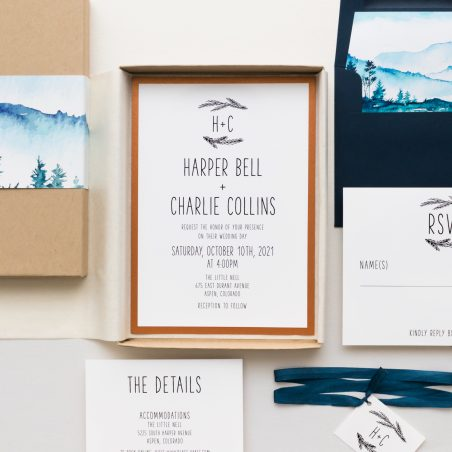 Colorado Navy & Copper Mountain Wedding Invitations